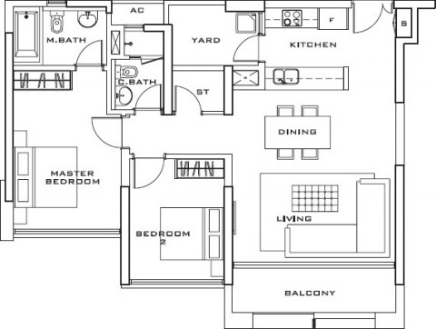 Estella 2bedrooms layout