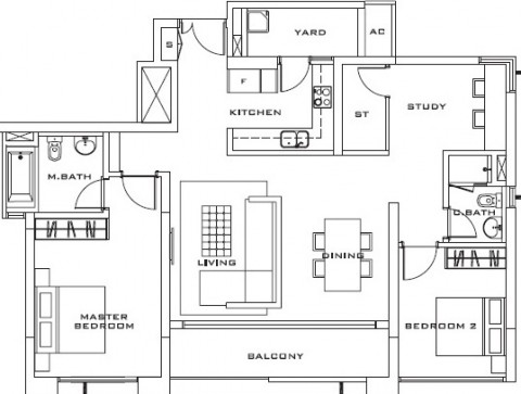 Estella Apartment 2bedrooms layout 124m2