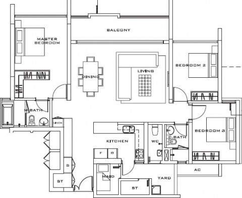 Estella Apartment 3 bedrooms layout 148m2