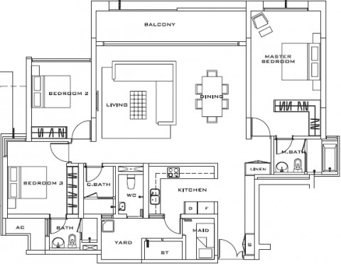 Estella Apartment 3 bedrooms layout 171m2